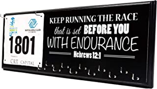 Zazzy Signs Running Medal Display Rack and Bib Holder, Beautiful Handcrafted Wood Sign, Wall Mounted, 22
