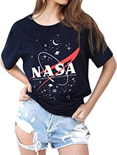 WLLW Women NASA Logo Tshirt Short Sleeve Tee Graphic Tops Space Shirt Blouse