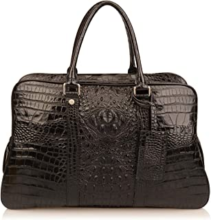 Yundou Men's Crocodile Embossed Genuine Leather Travelling Bags Luggage Bags Holdall (Black)