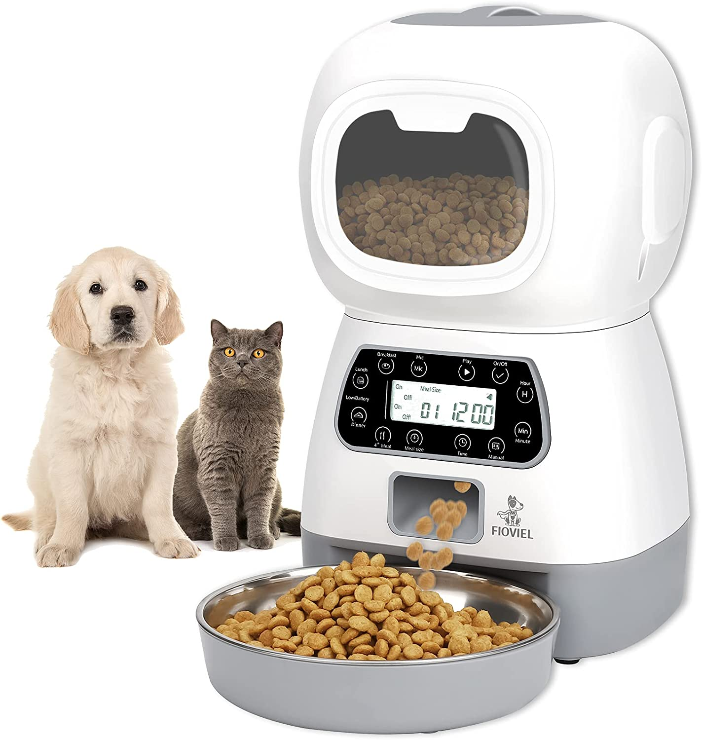 FIOVIEL Automatic Cat Feeder, 3.5L Pet Food Dispenser for Cats and Dogs, Timed Cat Feeder with Twist Lock Lid, Visible Window and Memory Function, Programmable 1-4 Meals per Day & 10s Voice Recorder