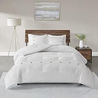 Madison Park Finley 3 Piece Cotton Waffle Weave Comforter Set, King/Cal King, White