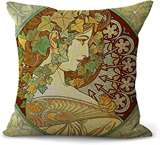 WholesaleSarong Art Nouveau Alphonse Mucha Ivy Cushion Cover Decorative Pillow Cover