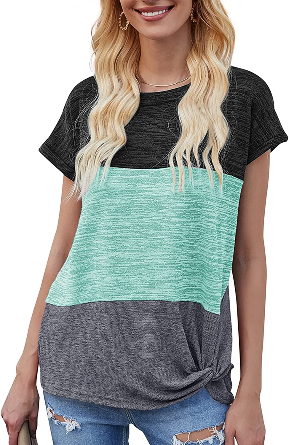 Women Tops Color Block Twist Knotted Tee Shirts Fashion Basic Striped Blouse Tunic Tops