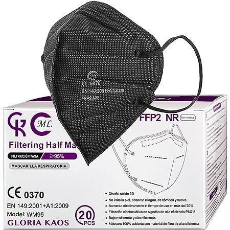 Gloria Kaos 20 Pièces Masques FFP2 Noirs ML Certifiés CE Filtration Haute Densité 5 Couches Scellé et Refermable Individuellement adultes