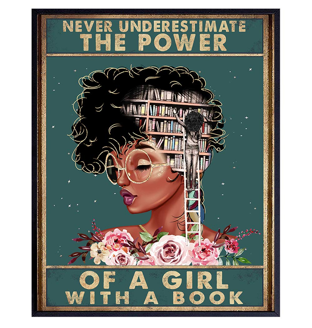 Never Underestimate a Girl With a Book - African American Wall Art - Black Woman Poster - African American Girl, African American Women, Black Women - Motivational Wall Decor - Positive Black Wall Art