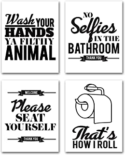 Bathroom Quotes Wall Art Sayings - Funny Pharse for Home Decoration Bathroom Decor Canvas Print Artwork Rules Toilet Modern Black White Poster Kitchen Picture 8x10 Unframed Set of 4 Signs Farmhouse