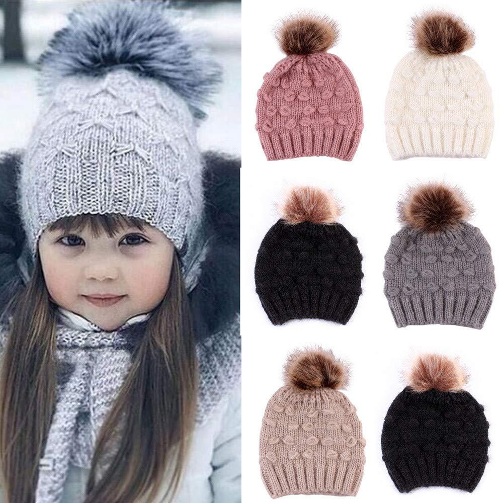Molyveva Cute Newborn Knitted Wool Hemming Hat Warm Winter Hairball Hats