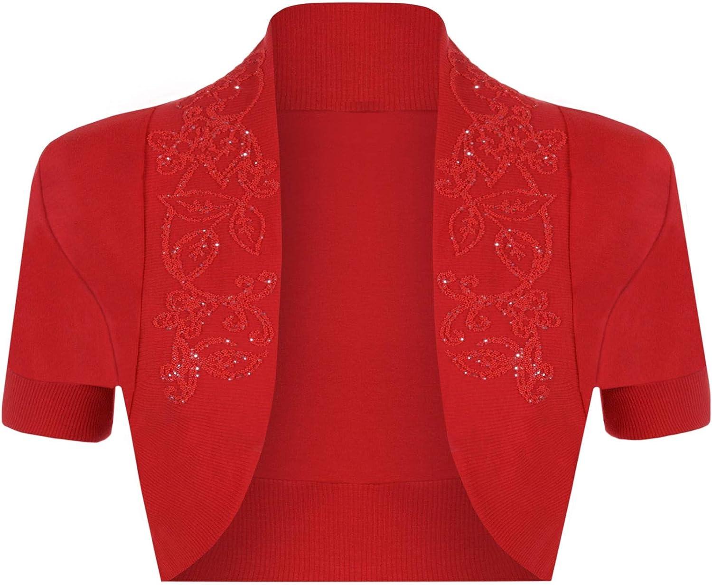 Cima Mode Ladies Plus Size Beaded Shrug Womens Short Sleeve Bolero Cardigan Top 6-24