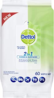 Dettol 2 in 1 Hand & Surfaces Anti-Bacterial Wipes 60 Pack