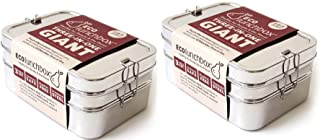 ECOlunchbox Three-in-One Stainless Food Canister & Lunch Box, Pefect for Adult's Work Lunch & Snacks-Pack of 2, Giant Size