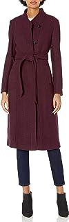معطف كول هان للنساء من الصوف المنسوج بياقة مع حزام ذاتي