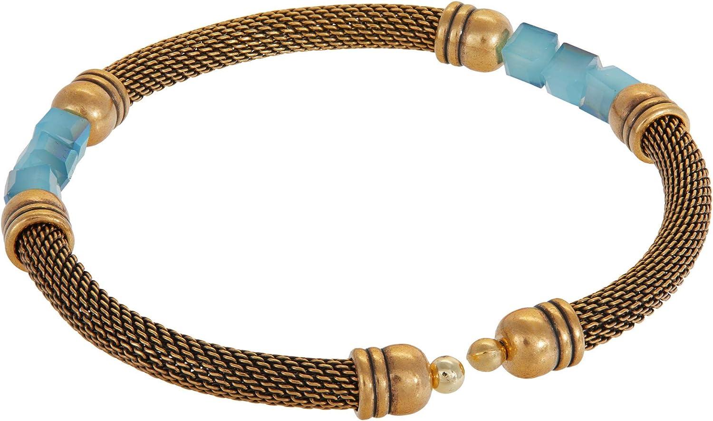 Alex and Ani Antique Americana Mesh Cuff Blue Bracelet
