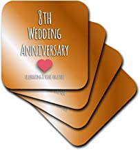 3dRose CST_154439_1 8th Wedding Bronze Celebrating 8 Years Together Eighth Anniversaries Eight Yrs Soft Coasters (Set of 4)