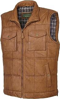 HIDEPARK Monty: Men's Tan Leather Bodywarmer