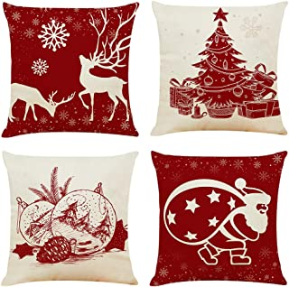 """Ogrmar 4PCS 18""""x18"""" Throw Pillow Covers Christmas Decorative Couch Pillow Cases Cotton Linen Pillow Square Cushion Cover f..."""