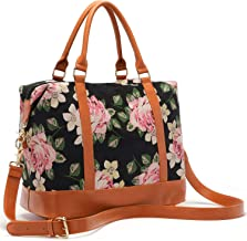 Women Ladies Canvas Weekender Bag Overnight Carry-on Tote Duffel in Trolley Handle (Flower-black)