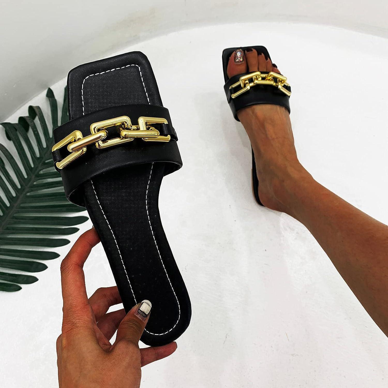 PLENTOP Flat Flip Flop Sandals for Women,Summer Square Open Toe Beach Walking House Slippers Espadrille Wedges Shoes for Women