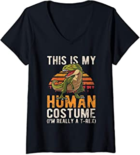 Womens This Is My Human Costume I'm Really A T-Rex Retro Halloween V-Neck T-Shirt