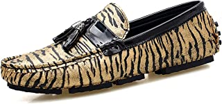 d7a0bdc2b2e8 TENGTA Mens Leather Moccasins Slip-on Leopard Loafers with Tassels Loafer Driving  Shoes Men Casual