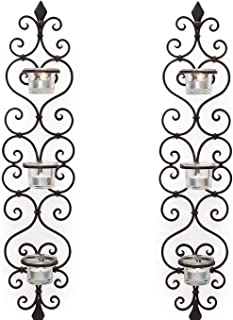 Adeco Decorative Iron Vertical Candle Tealight Pillar Holder Wall Sconce, Antique Vintage Style, Classy Home Decor Accents Set of 2