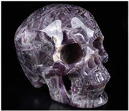 "Skullis 5.0"" Dream Chevron Amethyst Super Realistic Crystal Skull, Hand Carved Gemstone Fine Art Sculpture, Reiki Healing ..."