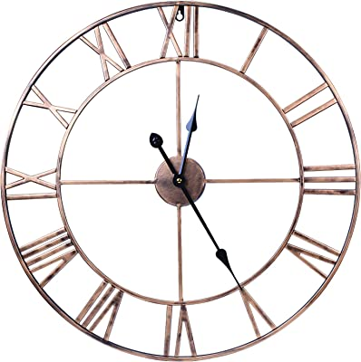 WISKALON Decor Wall Clock,18.5 Inch Indoor Silent Battery Operated Gold Metal Wall Clock,European Vintage Wall Clock with Large Roman Numerals for Living Room/Bedroom/Kitchen/Home Decor