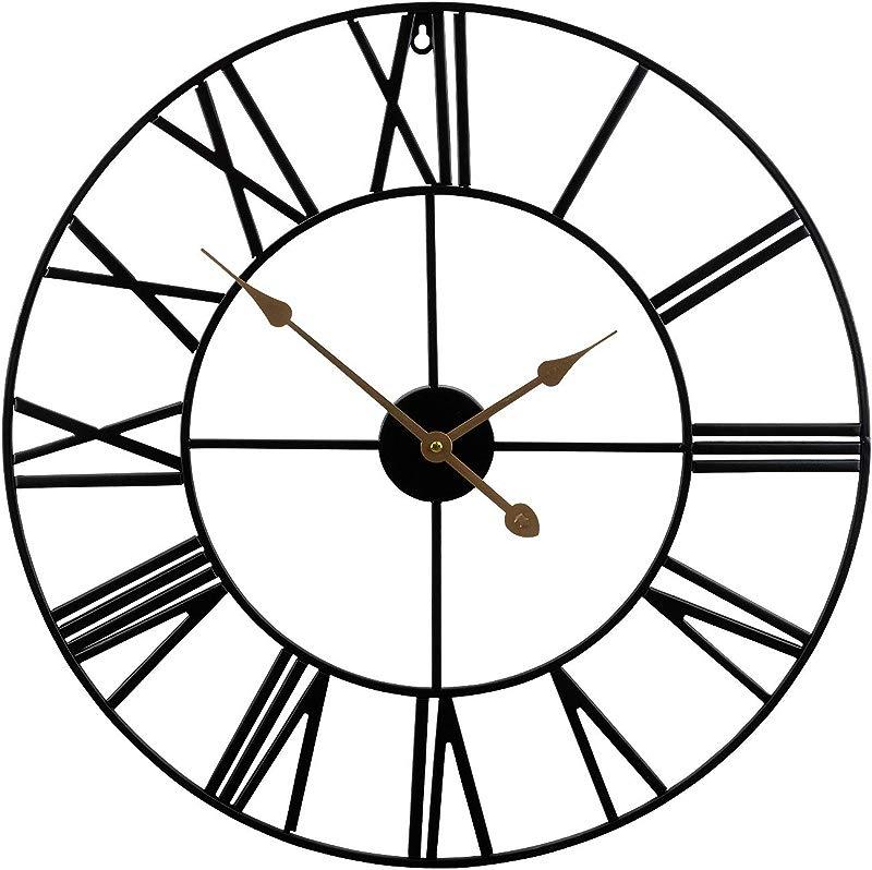 Sorbus Wall Clock 24 Round Oversized Centurian Roman Numeral Style Home D Cor Analog Metal Clock Black