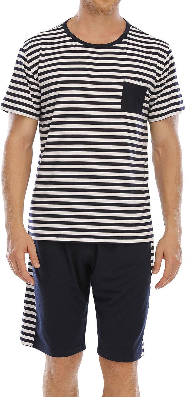 Lu's Chic Men's Short Sleeve Pajama Set 2 Piece Pjs Summer Striped Sleepwear Print Loungewear