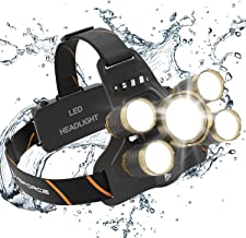 MsForce Rechargeable Headlamp. 5 Ultra Bright LED Head Lamp, Two 18650 USB Rechargeable..