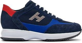 Hogan Interactive Sneaker da Uomo Blu e Rossa in Suede e Tessuto - HXM00N0Q101 PDU647P - Taglia