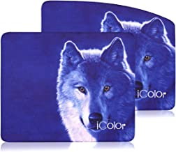 ICOLOR Cool Wolf Computer Mouse Pad, 9 X 7.5 Inches Optical Laser PC Mouse Mat, Neoprene Anti-Slip Base Water Resistant Gaming Mice Pad Mat Set of 2 (ICMP-13)