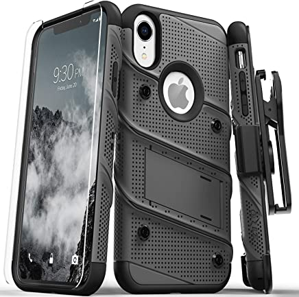 Zizo Bolt Series Compatible with iPhone XR Case Military Grade Drop Tested with Tempered Glass Screen Protector Holster and Kickstand Metal Gray Black