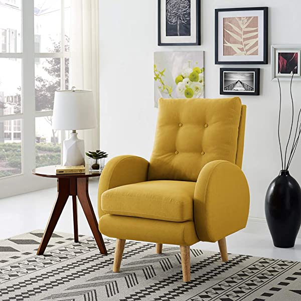 Lohoms Mid Century Modern Accent Chair Tufted Button Fabric Uphlostered Curved Arm Chair Comfy High Back Chair Single Sofa Mustard