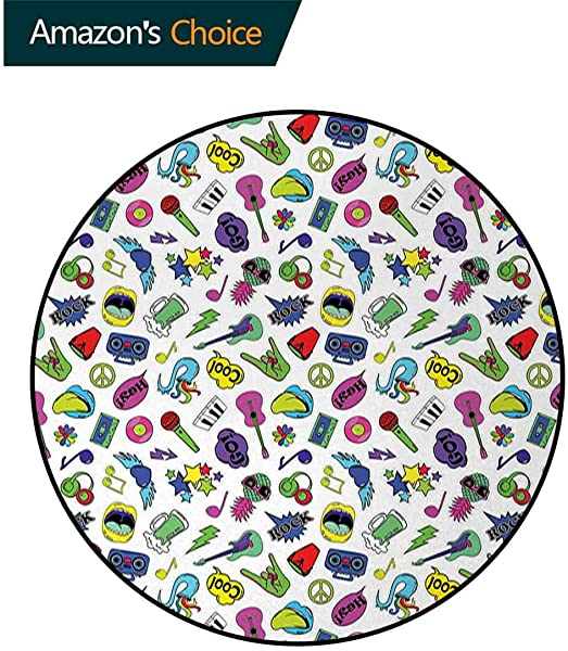 Emoji Carpet Gray Round Area Rug Colorful Fun Music Themed Pattern With Instruments Cassettes Boombox Hand Gestures Pattern Floor Seat Pad Home Decorative Indoor Diameter 47 Inch Multicolor