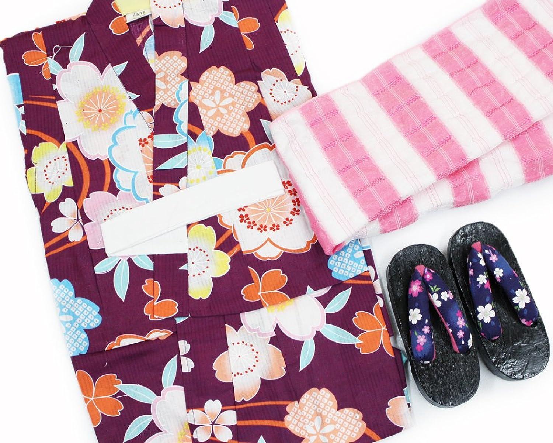 【女の子浴衣3点セット(100)】【濃い紫系/ピンク系】3?4歳 兵児帯 下駄 キッズ ガールズ