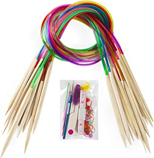18 Pairs Bamboo Knitting Needles Set, Vancens Premium Circular Wooden Knitting Needles with Colorful Plastic Tube, 5 Kind of Tools for Weave are Included, 18 Sizes: 2mm - 10mm, 31.5