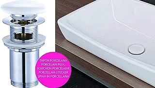 Kibath 215171 Válvula Clic Clac de Porcelana Blanca Universal Compatible con La Mayoría de Lavabos Fabricada En Latón, Cromo Brillo, Talla Única
