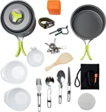 MalloMe Camping Cookware Mess Kit Backpacking Gear & Hiking Outdoors Bug Out Bag Cooking Equipment Cookset   Lightweight, Compact, Durable Pot Pan Bowls (Green 1L 18 pc)