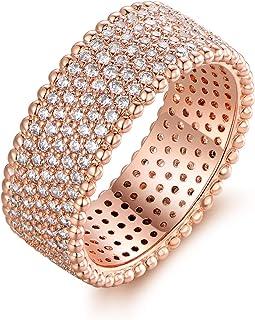 Barzel 18K 玫瑰金 5 排方晶锆石戒指 宽环 情侣酒会珠宝
