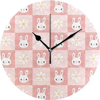 Chovy 掛け時計 置き時計 北欧 おしゃれ かわいい サイレント 連続秒針 壁掛け時計 インテリア うさぎ 兎 花柄 ピンク チェック柄 かわいい 兎柄 部屋装飾 子供部屋 プレゼント