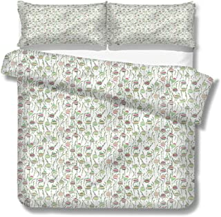 Mademai Twin Size Duvet Cover Set Farm,Eggs and Leaves Easter Time for Kids/Teens/Adults Hidden Zipper Quilt Cover Printed