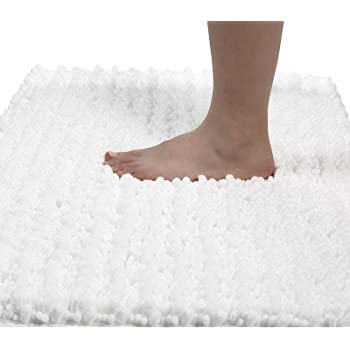 Yimobra Original Luxury Shaggy Bath Mat, 24 x 17 Inches, Soft and Cozy, Super Absorbent Water, Non-Slip, Machine-Washable, Thick Modern for Bathroom Bedroom, Bright White