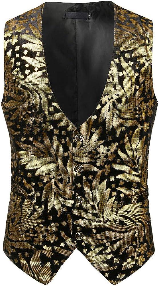 MODOQO Men's Single Breasted Vest Slim Fit Waistcoat Steampunk Victorian Business Suit (Gold,CN-M/US-XS)