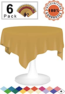 Gold Plastic Tablecloths Disposable Table Covers 6 Pack Premium 84 Inches Round Table Cloths for Round Tables up to 6 Feet and for Picnic BBQ Birthdays Thanksgiving any Events Occasions, PEVA Material