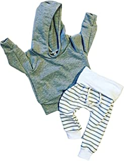 Newborn Baby Boys Warm Hoodie T-Shirt Top + Striped Pants Outfits Set Kids Clothes