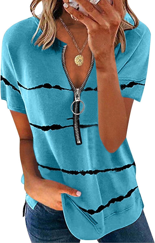 Womens Tshirts,Women's Soild Color Top Casual Loose Blouse Plus Size Shirts Zipper Tunics Tees
