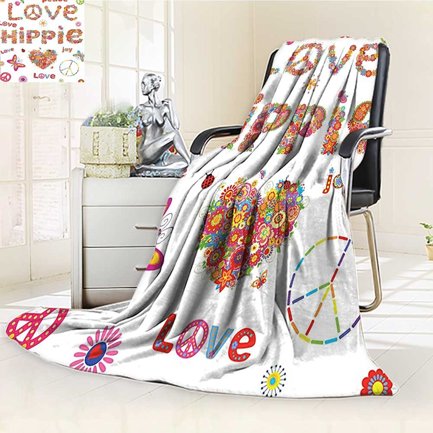 YOYI-HOME Fleece Duplex Printed Blanket 300 GSM Anti-Static Super Soft Hippie Flowers Festive Season Ladybird Ladybugs Nature Flourishes Art Print Bed Blanket Couch Blanket  W59 x H39.5