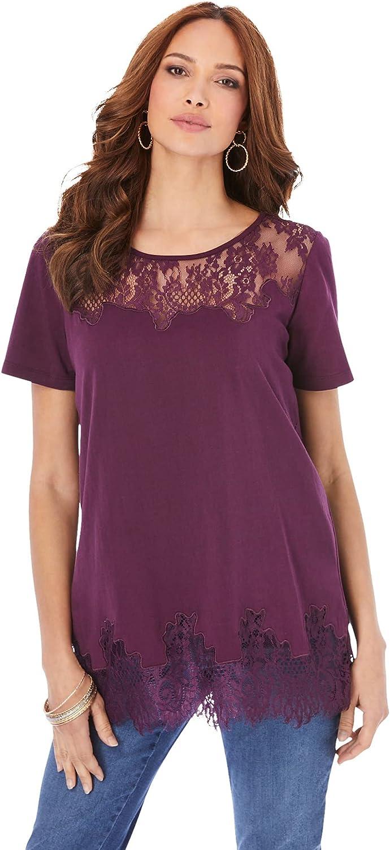 Roamans Women's Plus Size Lace-Trim T-Shirt