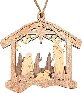 Winter Wood Raised Text Sign Shabby Chic Nativity Christs Birth Farmhouse Scene Manger Baby Jesus Rustic 3D Christmas Line Art