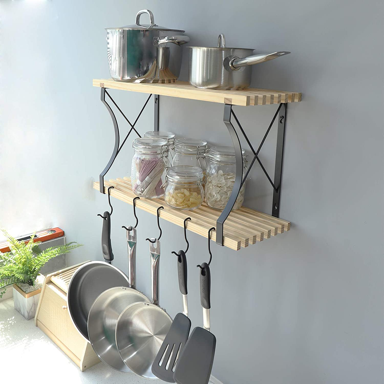 WELLAND 24x8.9 Limited time for free shipping Inches Wooden Pot Pan 2 W Rack Tier Taylor Shelf Max 67% OFF